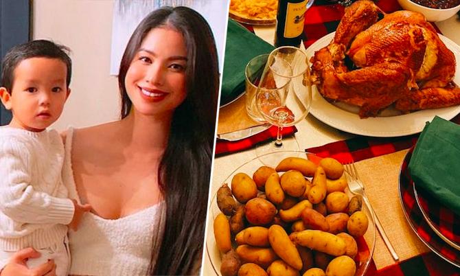 Mâm đồ ăn truyền thống ngày lễ Tạ ơn của Phạm Hương ở Mỹ