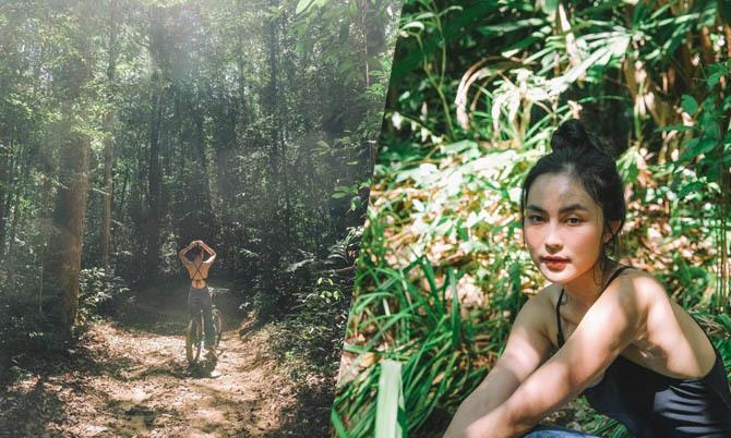 Helly Tống trải nghiệm tắm rừng nguyên sinh